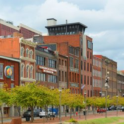 NASHVILLE,TN,USA - SEP 27: Historic 1st Avenue at the riverfront of Cumberland River on Sep. 27, 2015 in downtown Nashville, Tennessee, USA.
